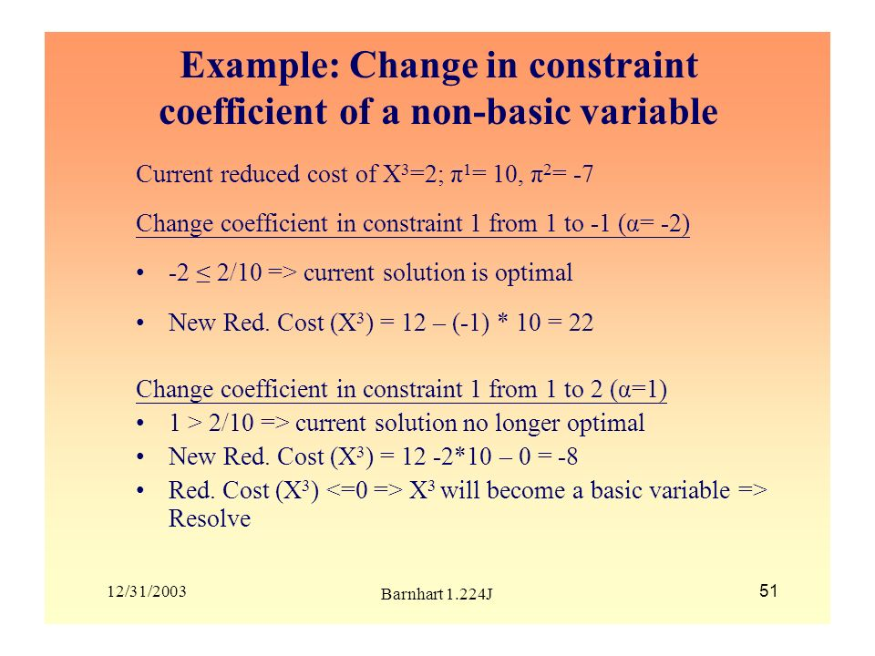 Example: Change in constraint coefficient of a non-basic variable