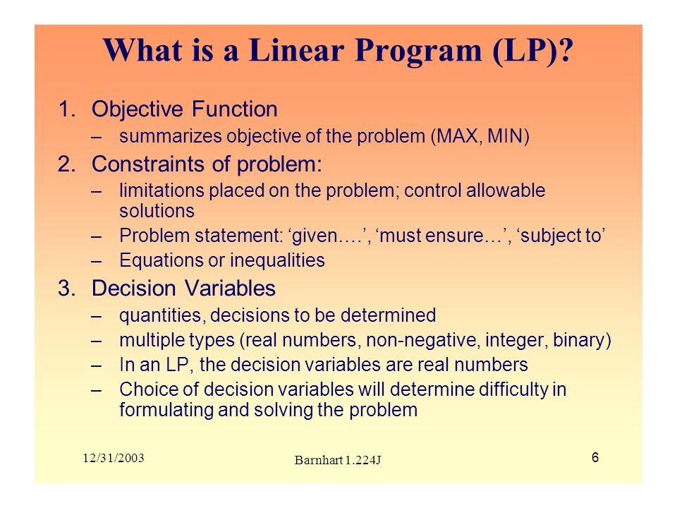 What is a Linear Program (LP)