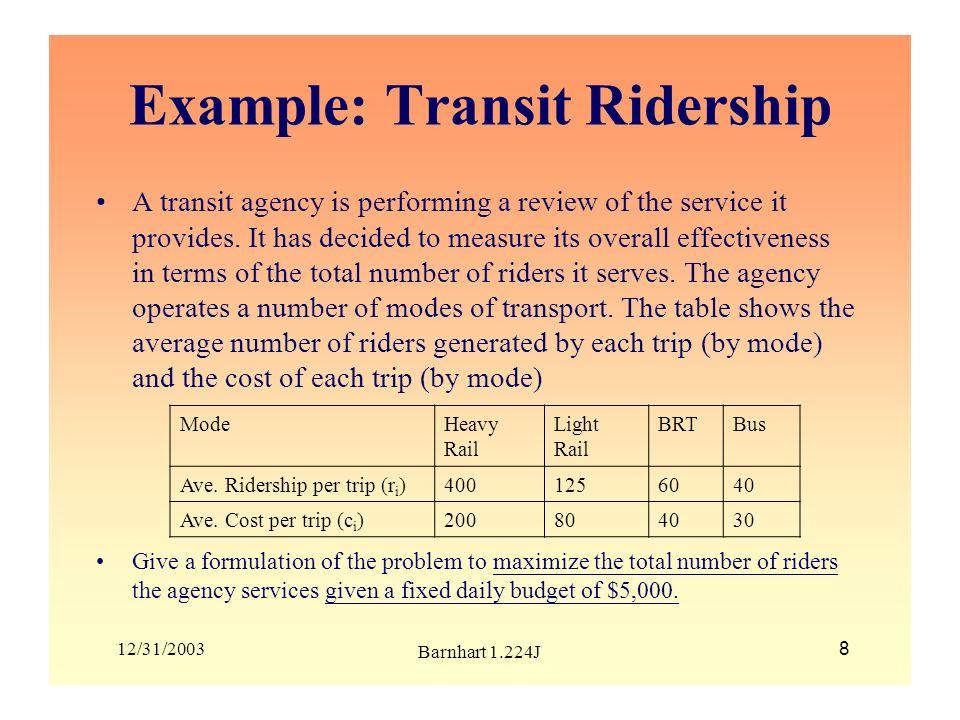 Example: Transit Ridership