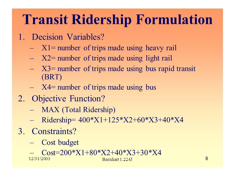 Transit Ridership Formulation