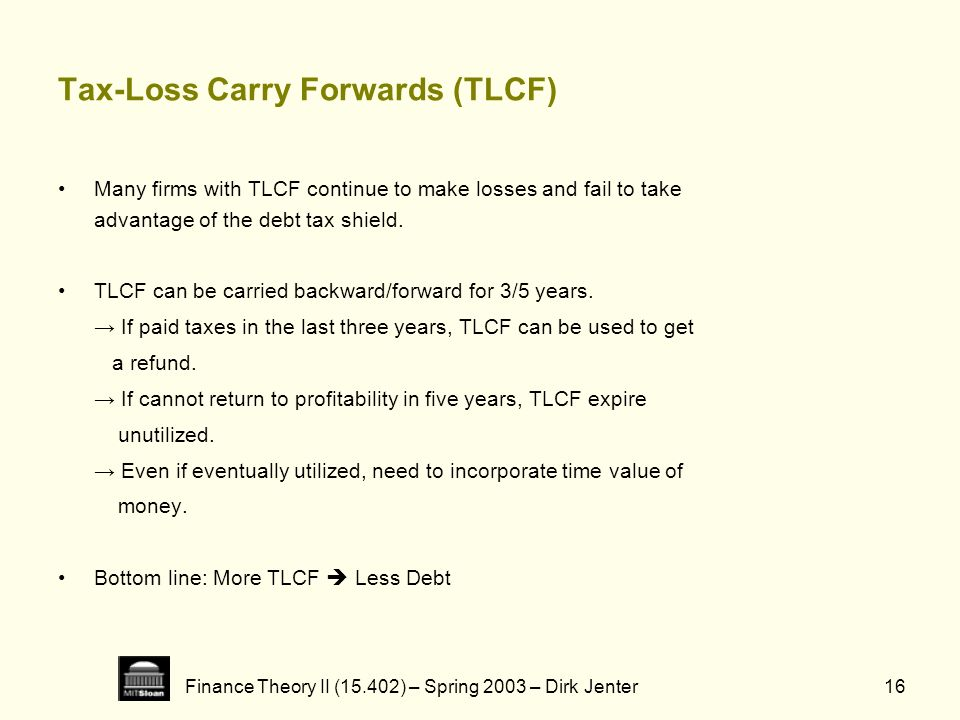 Tax-Loss Carry Forwards (TLCF)