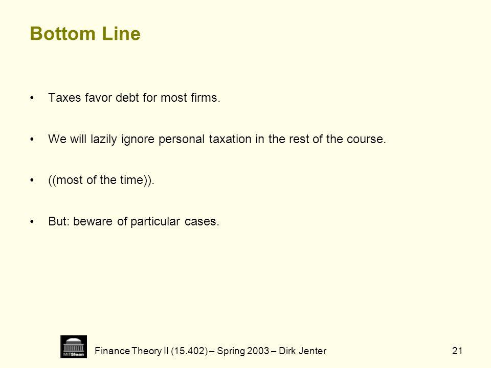 Finance Theory II (15.402) – Spring 2003 – Dirk Jenter