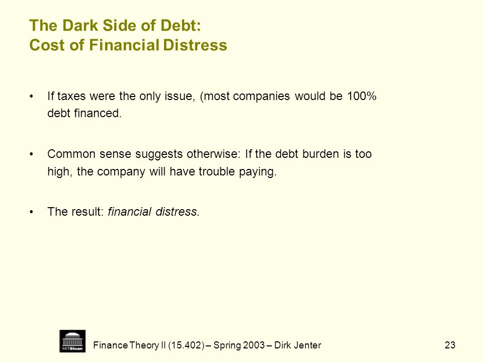 The Dark Side of Debt: Cost of Financial Distress