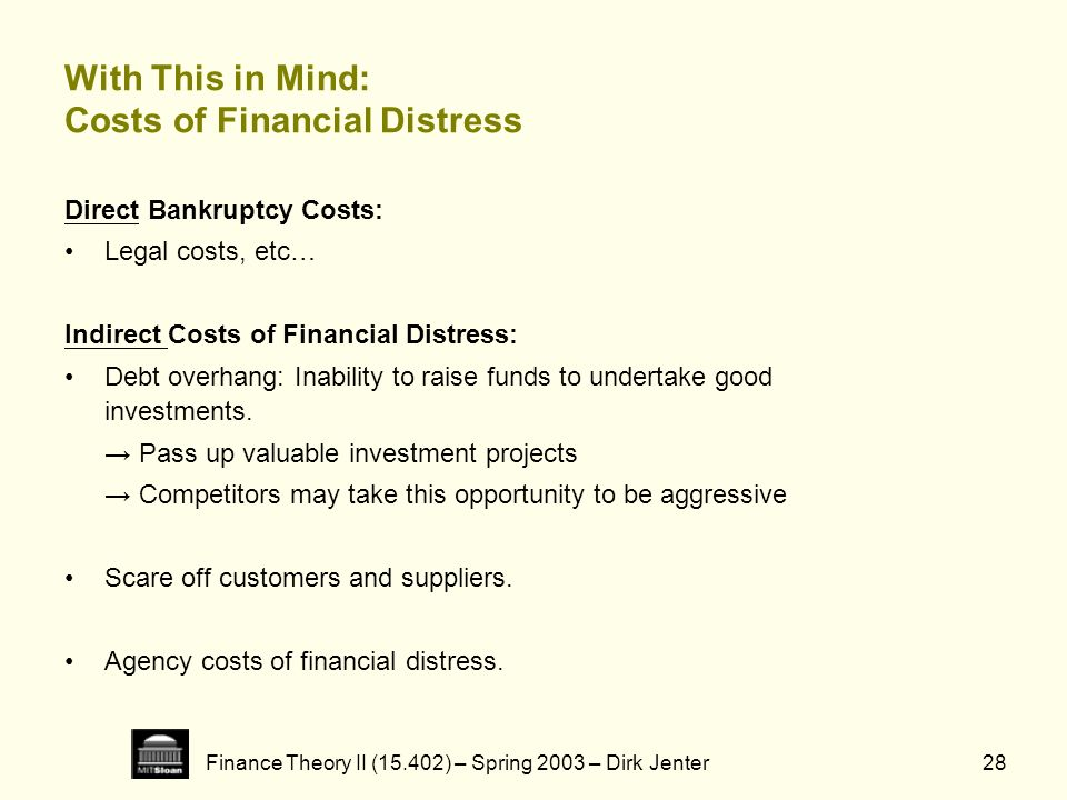 With This in Mind: Costs of Financial Distress
