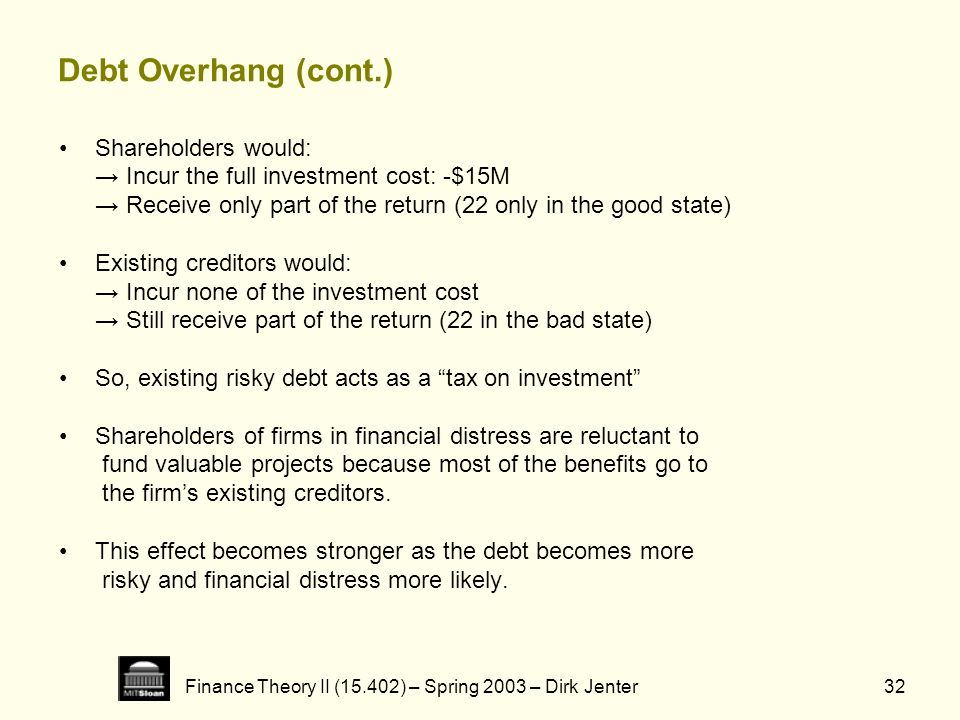 Finance Theory II (15.402) – Spring 2003 – Dirk Jenter