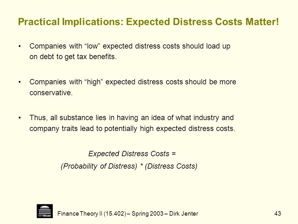 Practical Implications: Expected Distress Costs Matter!