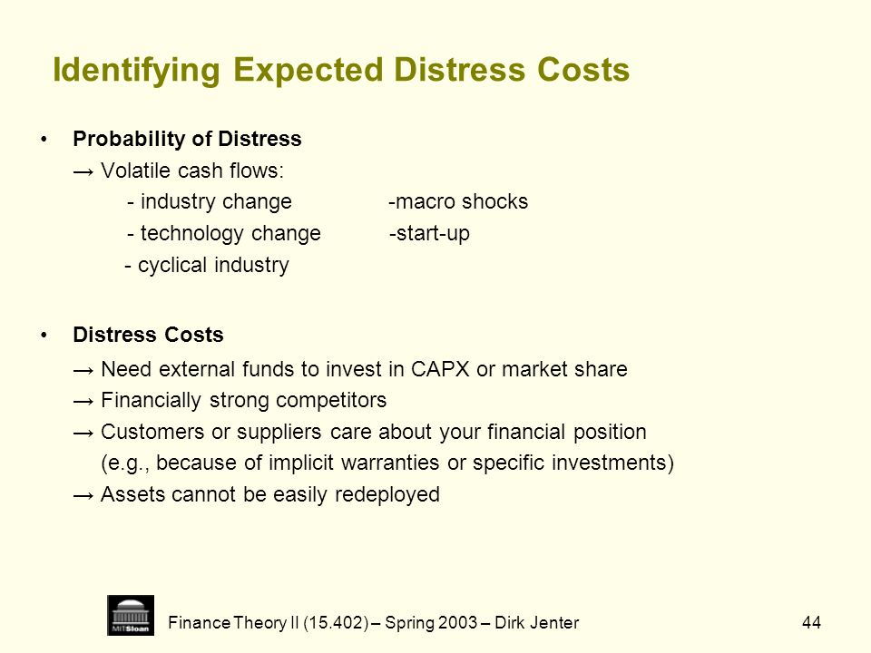 Identifying Expected Distress Costs