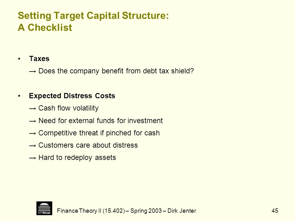 Setting Target Capital Structure: A Checklist