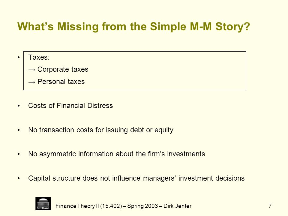 What's Missing from the Simple M-M Story
