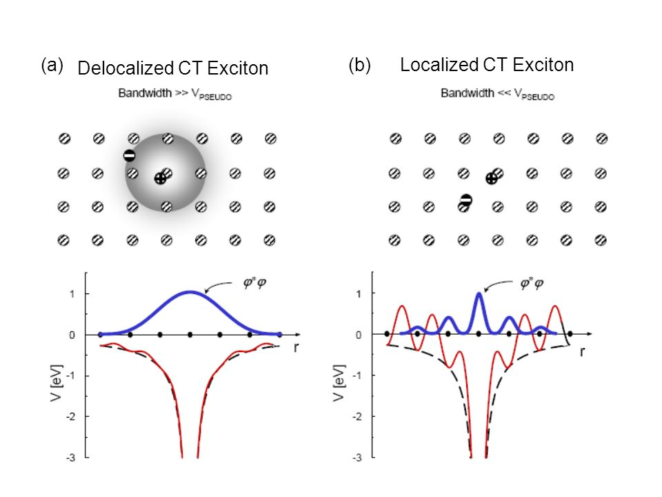 (a) Delocalized CT Exciton (b) Localized CT Exciton