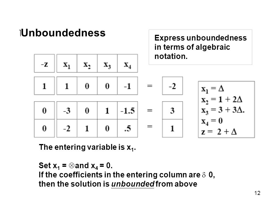 Unboundedness Express unboundedness in terms of algebraic notation.
