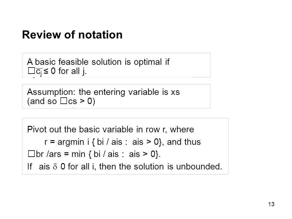 Review of notation A basic feasible solution is optimal if
