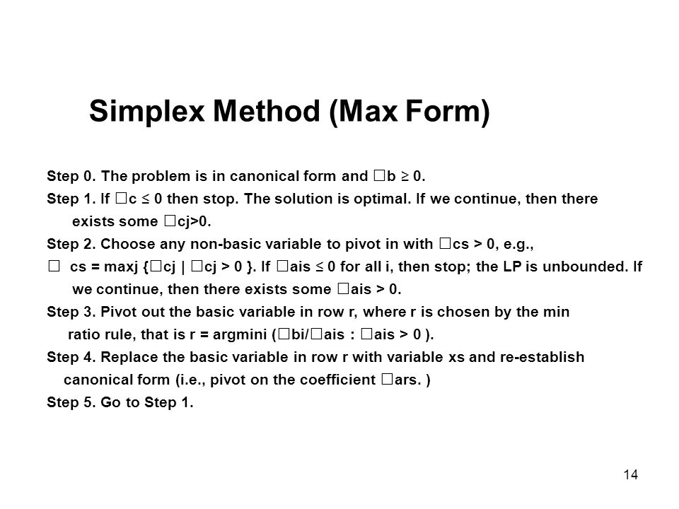 Simplex Method (Max Form)