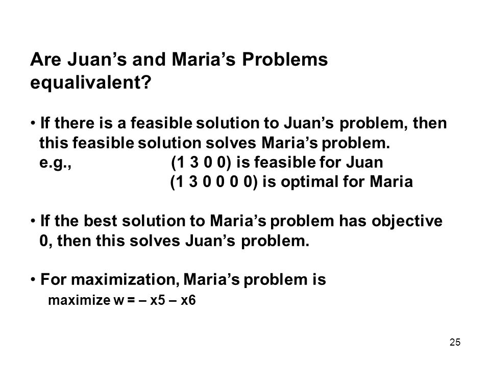 Are Juan's and Maria's Problems equalivalent