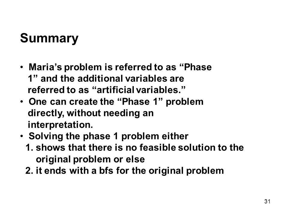 Summary Maria's problem is referred to as Phase