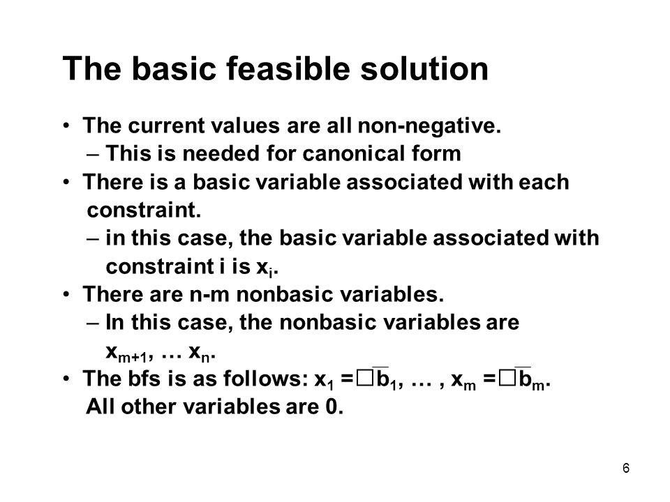 The basic feasible solution