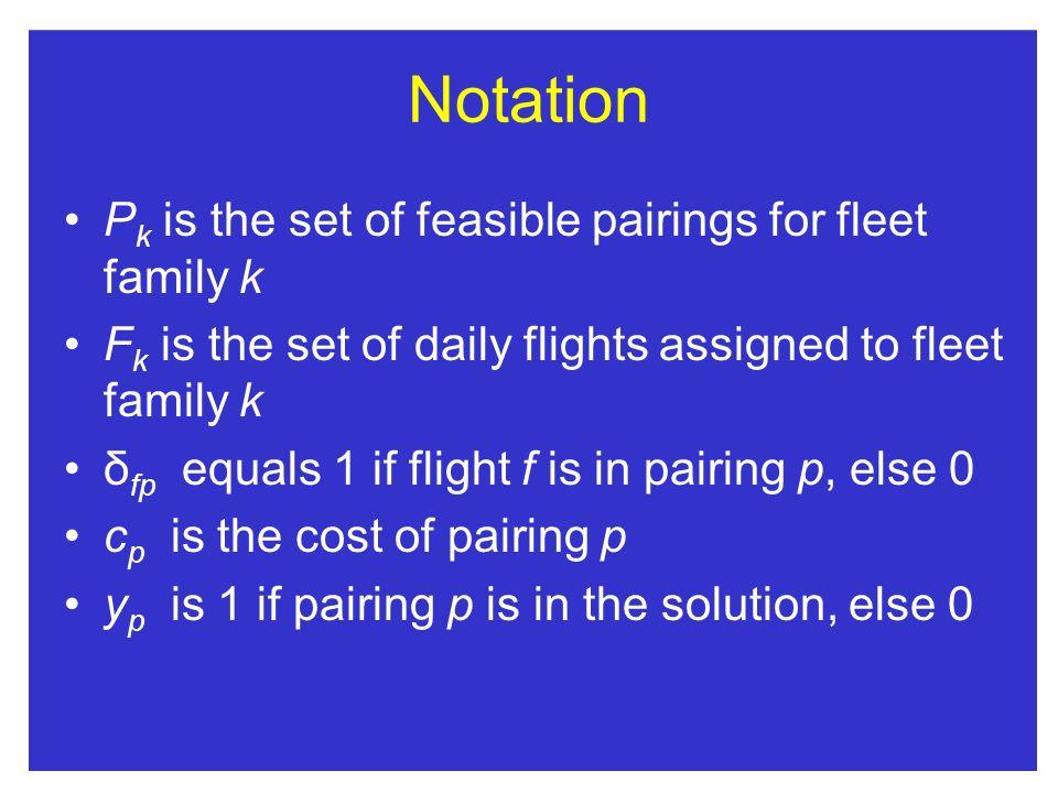 Notation Pk is the set of feasible pairings for fleet family k