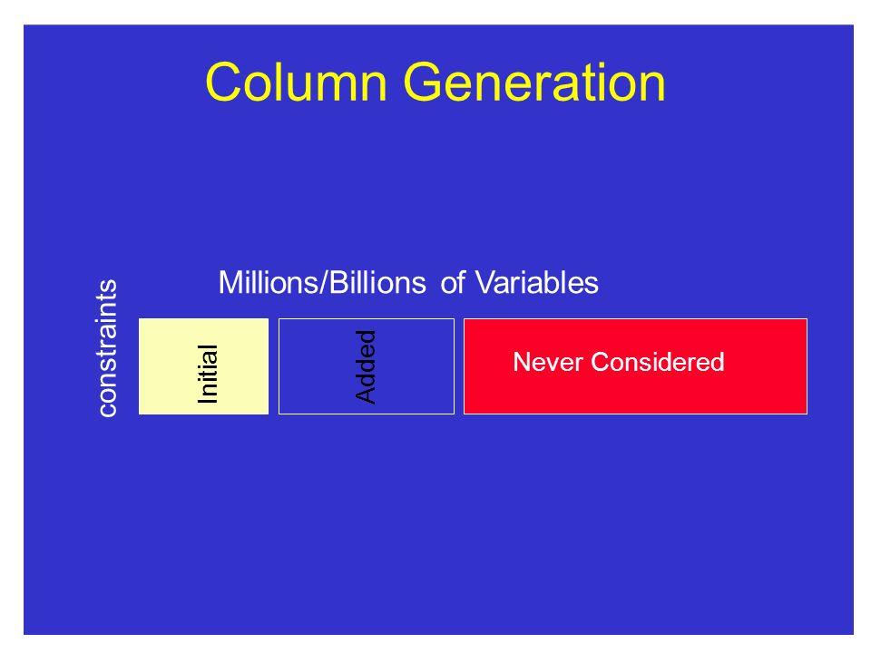 Column Generation Millions/Billions of Variables constraints Added