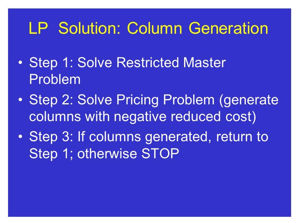 LP Solution: Column Generation
