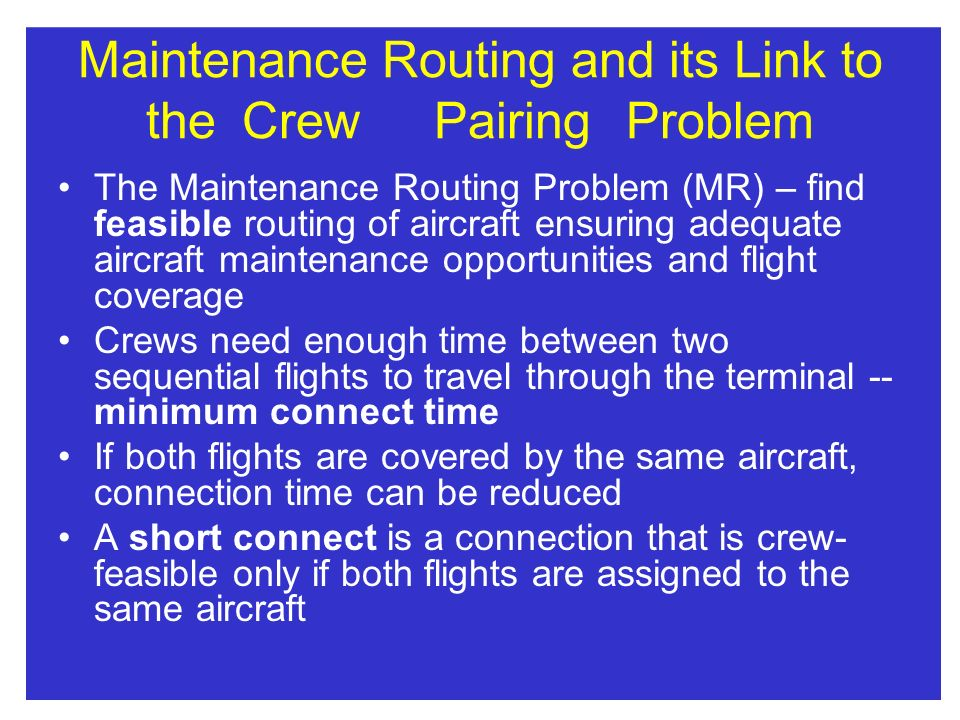 Maintenance Routing and its Link to the Crew Pairing Problem