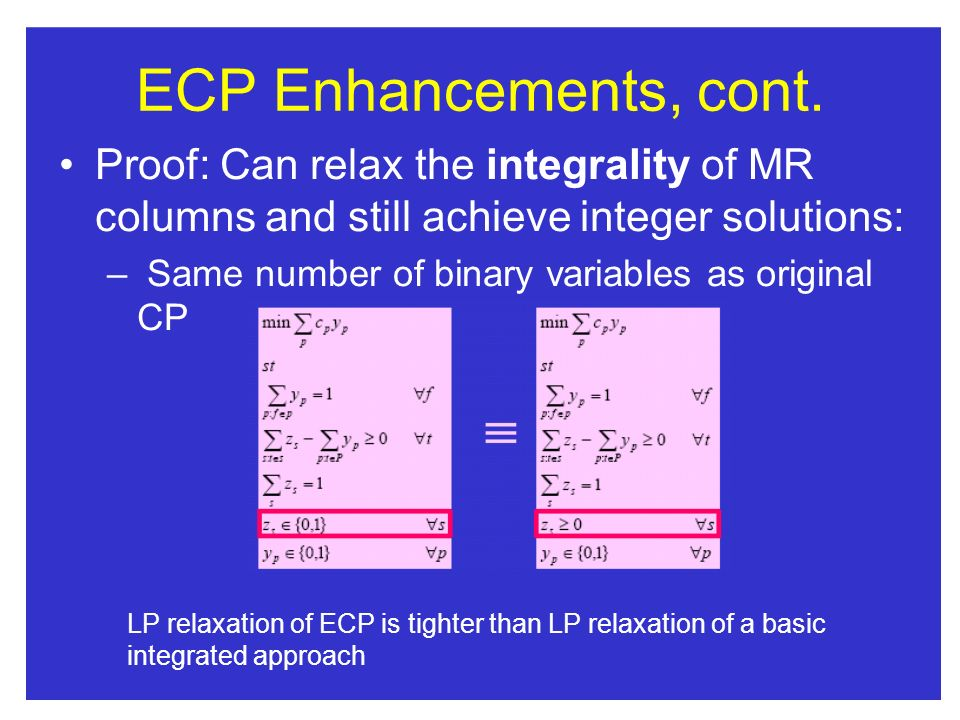 ECP Enhancements, cont. Proof: Can relax the integrality of MR columns and still achieve integer solutions: