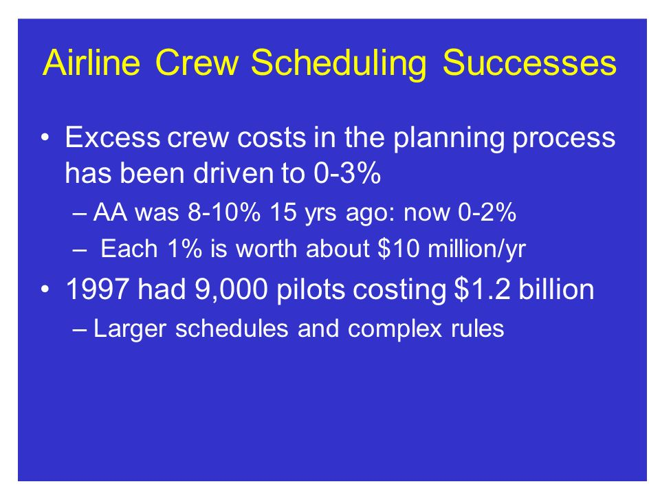 Airline Crew Scheduling Successes