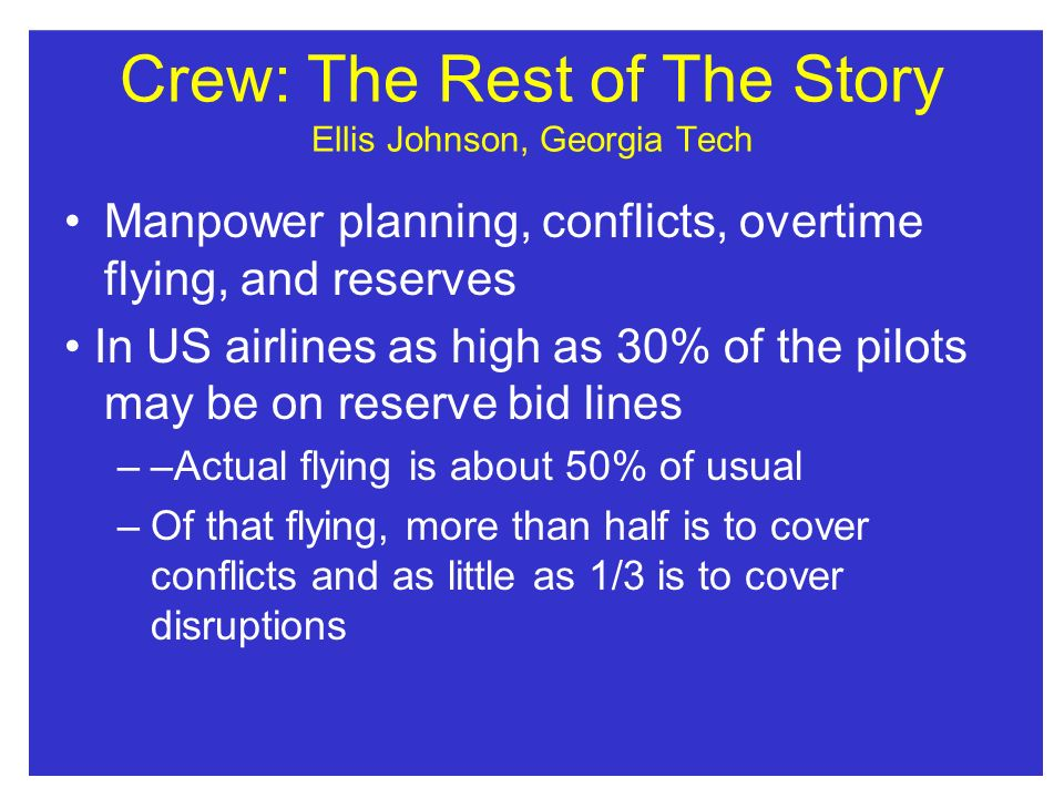 Crew: The Rest of The Story Ellis Johnson, Georgia Tech