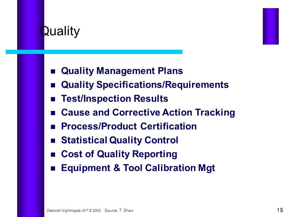 Quality Quality Management Plans Quality Specifications/Requirements