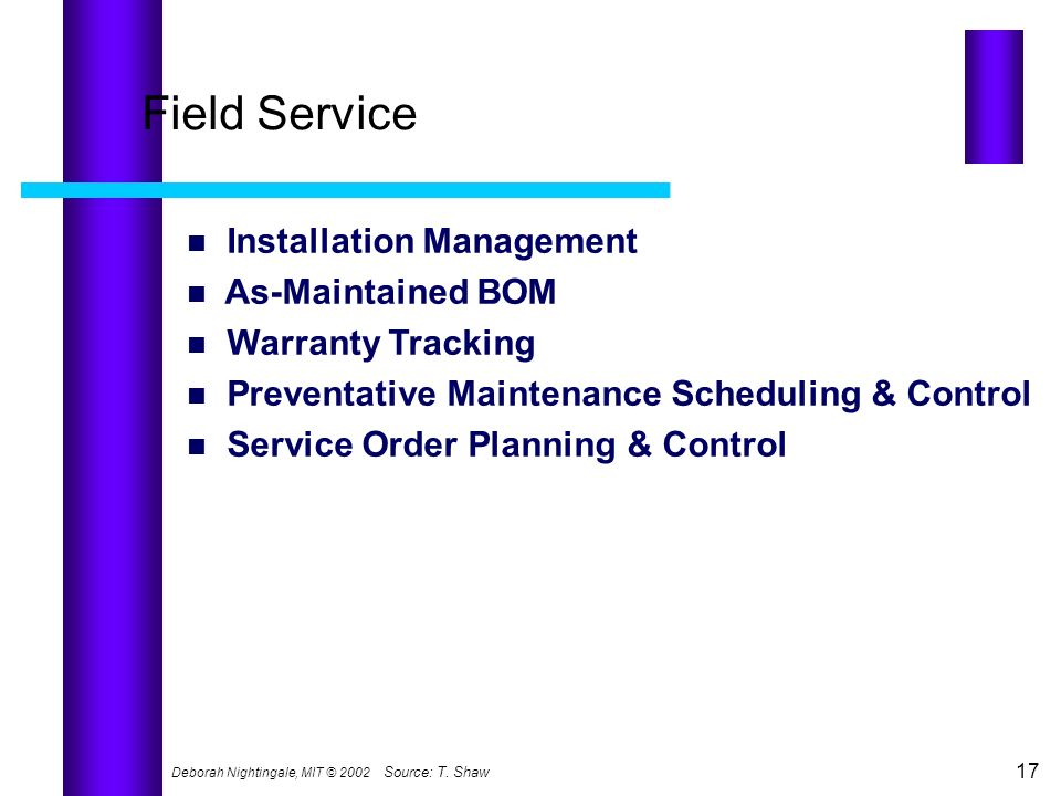 Field Service Installation Management As-Maintained BOM