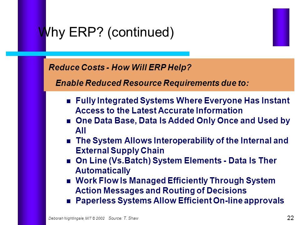 Why ERP (continued) Reduce Costs - How Will ERP Help