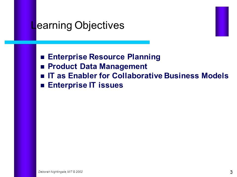 Learning Objectives Enterprise Resource Planning