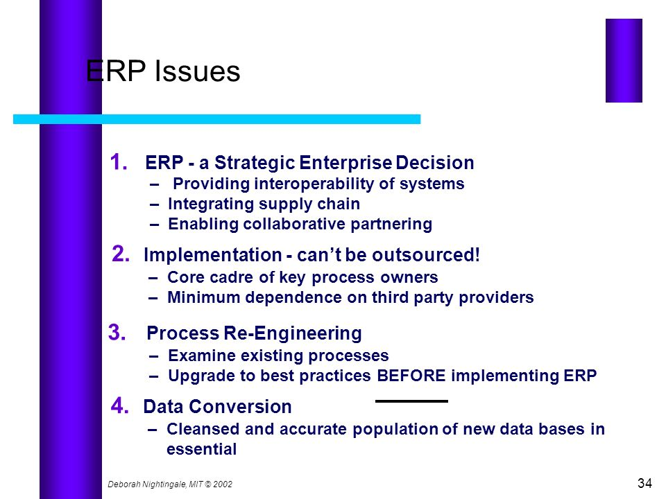 ERP Issues 1. 2. Implementation - can't be outsourced!