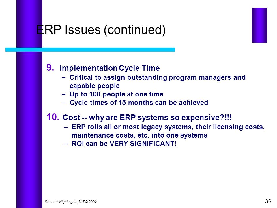 ERP Issues (continued)