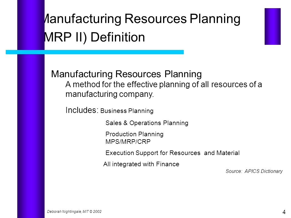 Manufacturing Resources Planning (MRP II) Definition