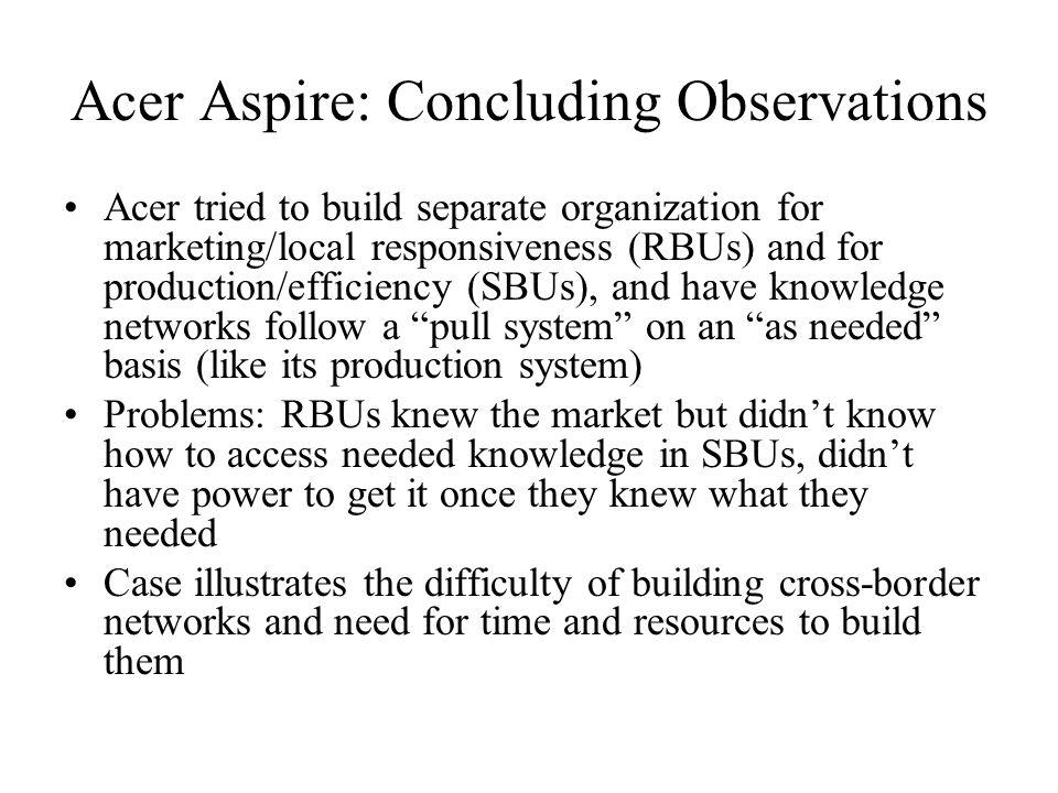 Acer Aspire: Concluding Observations
