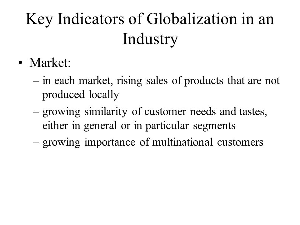 Key Indicators of Globalization in an Industry