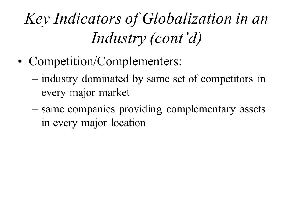 Key Indicators of Globalization in an Industry (cont'd)