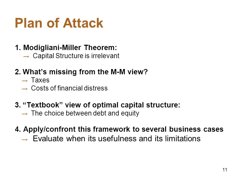 Plan of Attack 1. Modigliani-Miller Theorem: