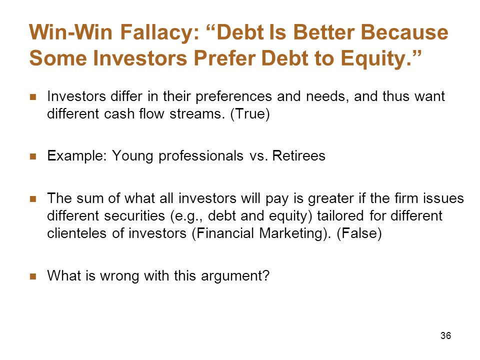 Win-Win Fallacy: Debt Is Better Because Some Investors Prefer Debt to Equity.