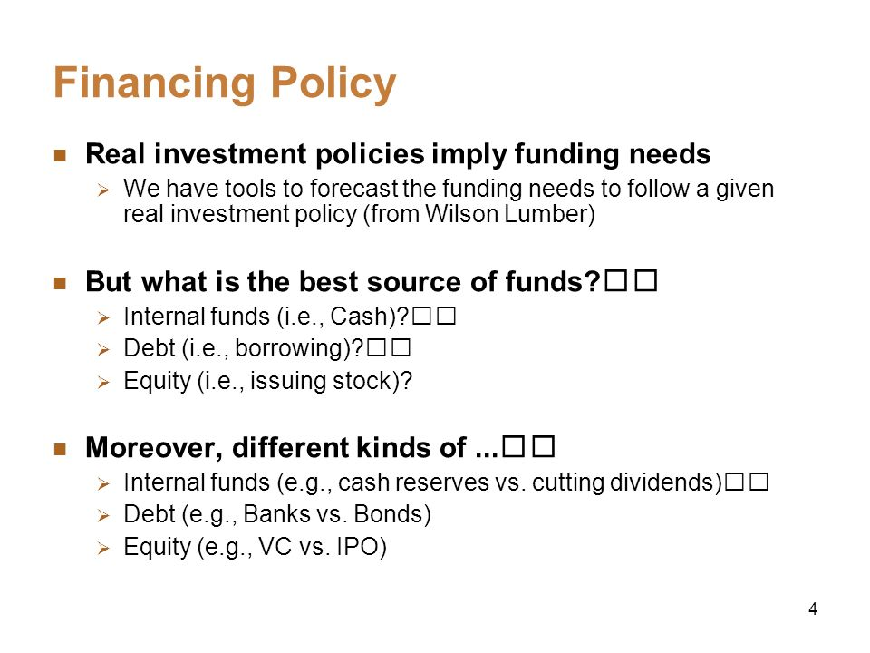 Financing Policy Real investment policies imply funding needs