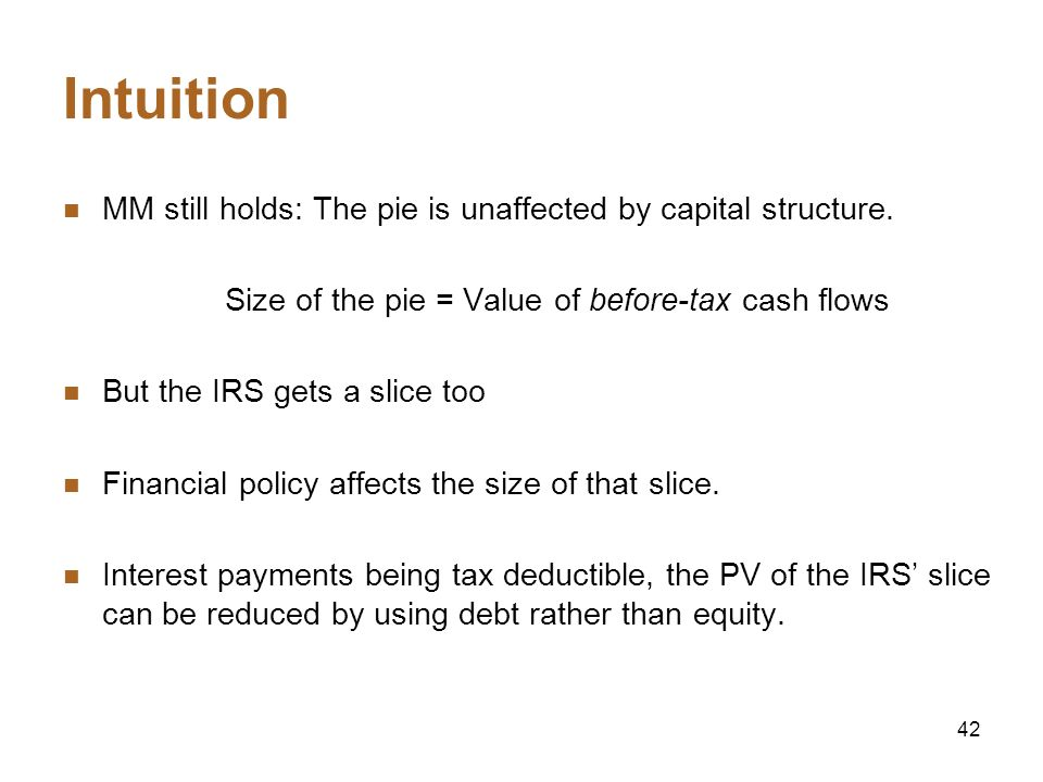Size of the pie = Value of before-tax cash flows