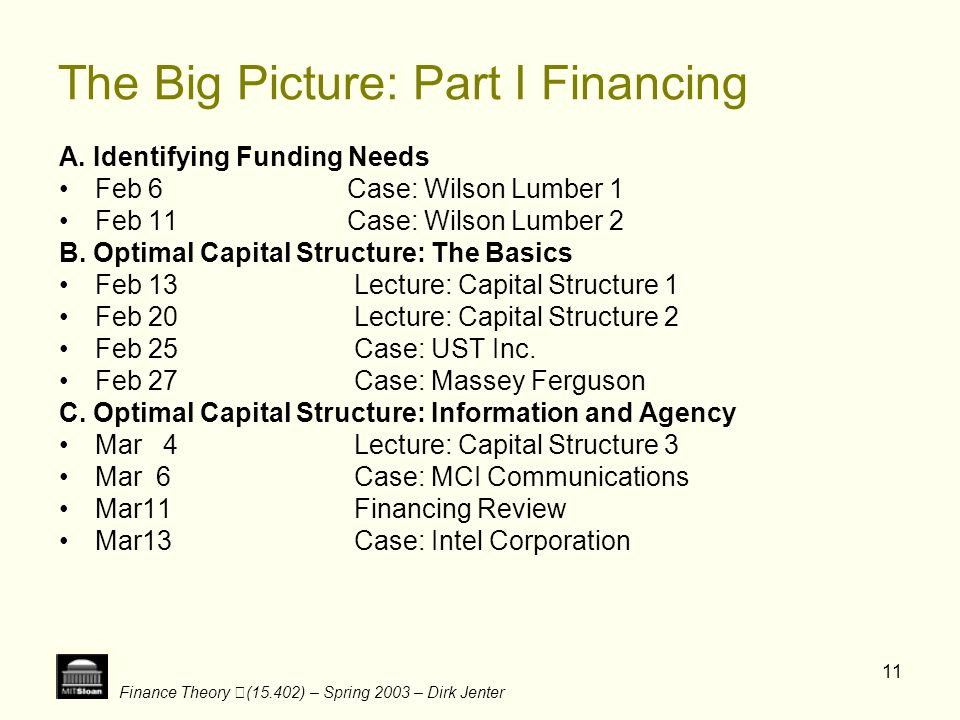 The Big Picture: Part I Financing