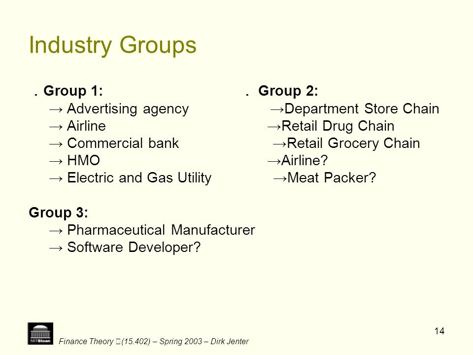 Industry Groups .Group 1: . Group 2: