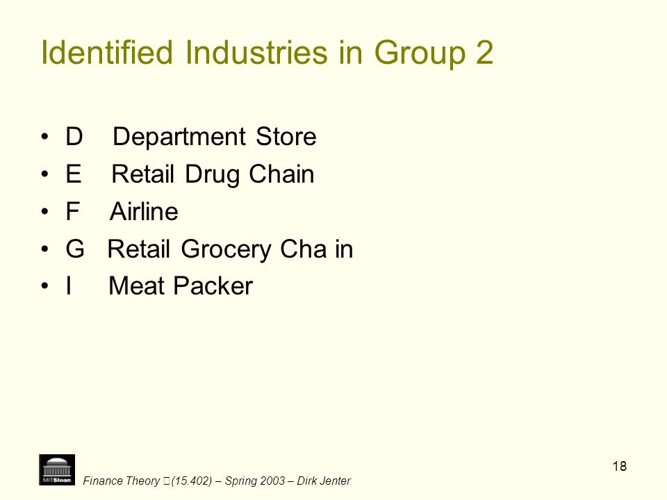 Identified Industries in Group 2