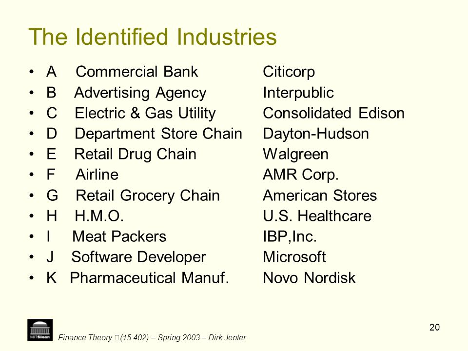 The Identified Industries