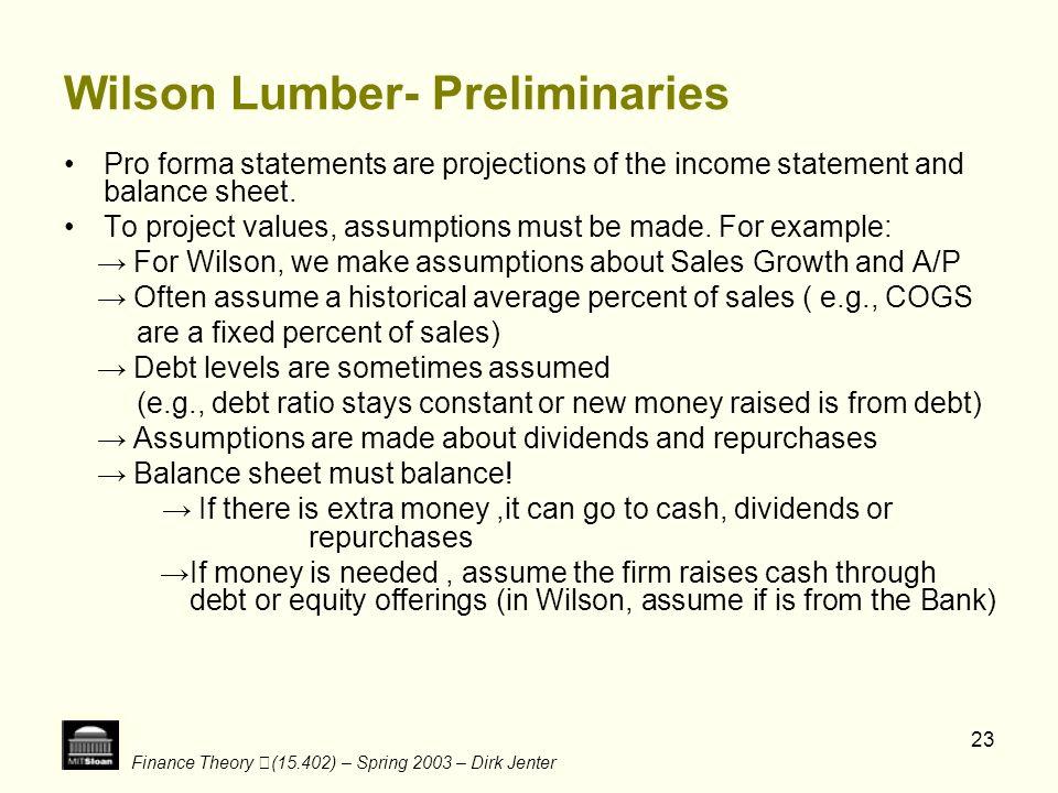 Wilson Lumber- Preliminaries
