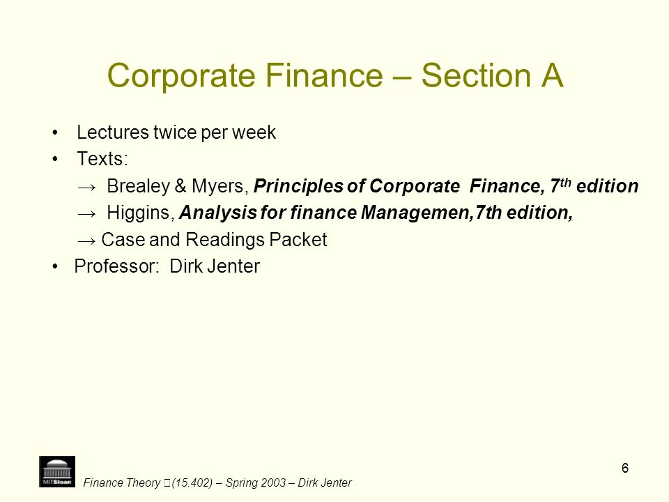 Corporate Finance – Section A