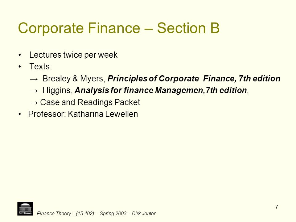 Corporate Finance – Section B