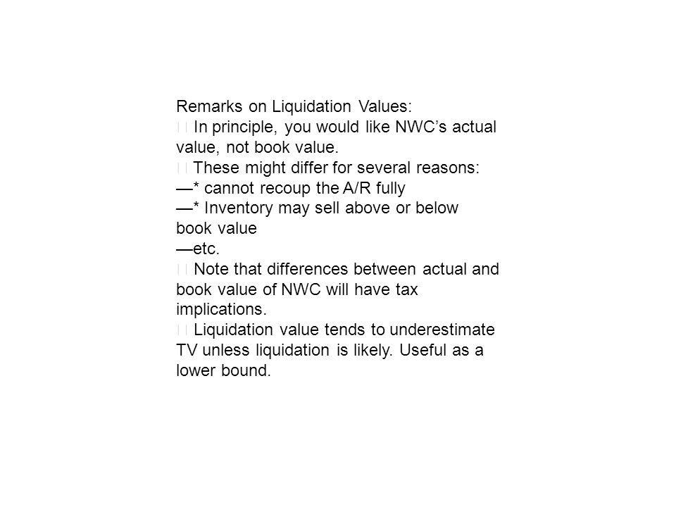 Remarks on Liquidation Values:
