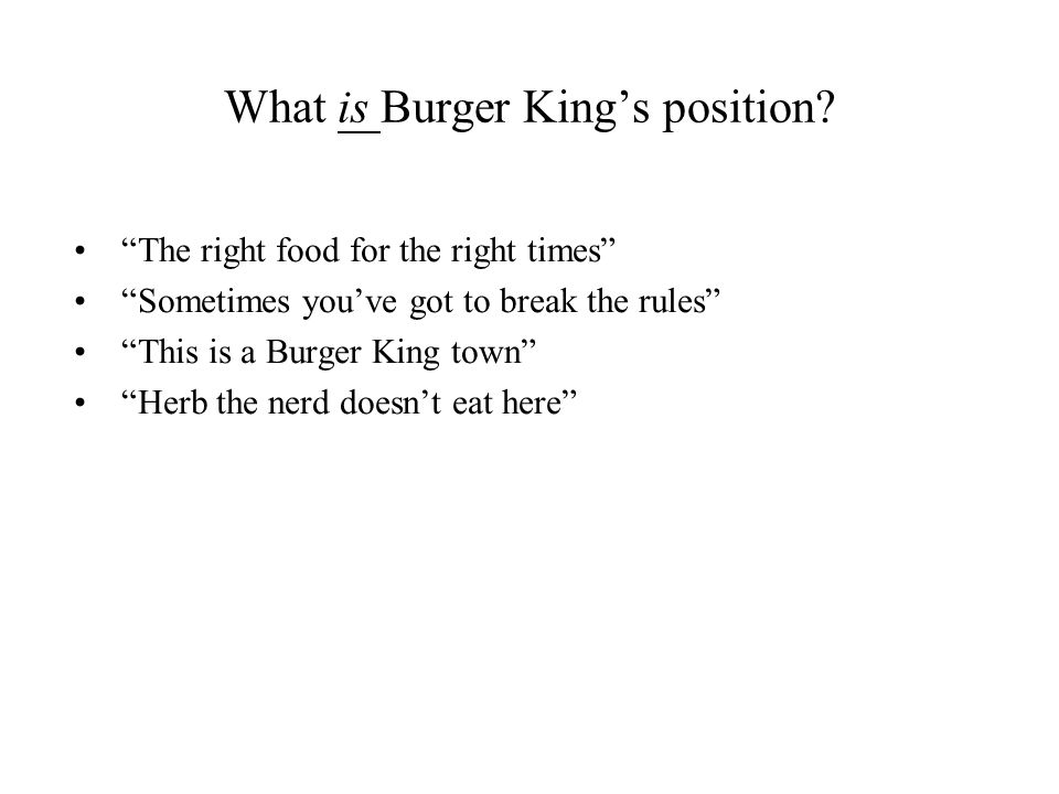 What is Burger King's position